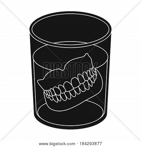 Dentures.Old age single icon in black style vector symbol stock illustration .