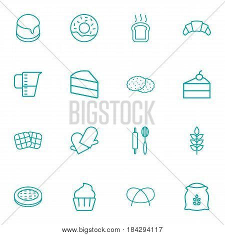 Set Of 16  Outline Icons Set.Collection Of Gloves, Pretzel, Donuts And Other Elements.