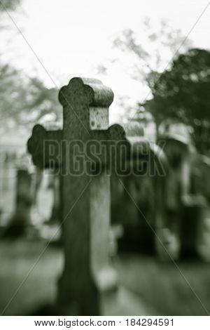 Old Blurry Cross Tombstone