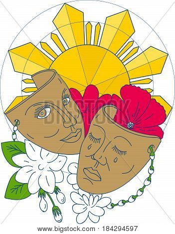 Mono line style illustration showing a drama theater mask with hibiscus or rose mallow and arabian jasmine Jasminum sambac or sampaguita and Philippine sun in background.