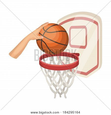 Hand with a ball near the basket.Basketball single icon in cartoon style vector symbol stock illustration .