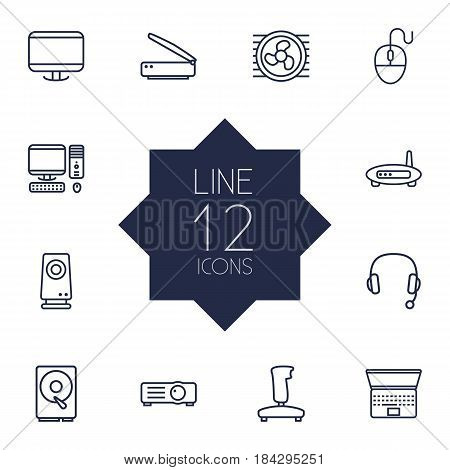 Set Of 12 Notebook Outline Icons Set.Collection Of Speaker, Laptop, PC And Other Elements.
