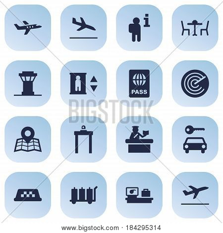 Set Of 16 Aircraft Icons Set.Collection Of Metal Detector, Leaving, Data And Other Elements.