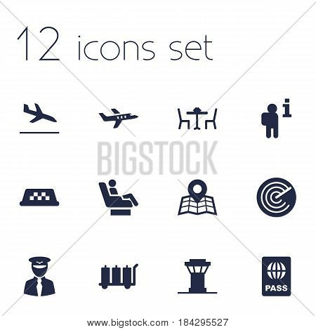 Set Of 12 Airplane Icons Set.Collection Of Letdown, Aircraft, Restaurant And Other Elements.