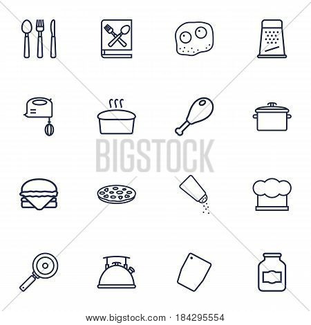 Set Of 16 Kitchen Outline Icons Set.Collection Of Omelette, Bread, Jug And Other Elements.