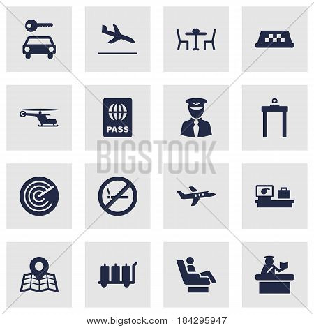 Set Of 16 Land Icons Set.Collection Of Aviator, Security, Luggage Check And Other Elements.
