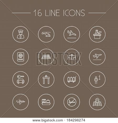 Set Of 16 Land Outline Icons Set.Collection Of Map, Sit, Car Rent And Other Elements.