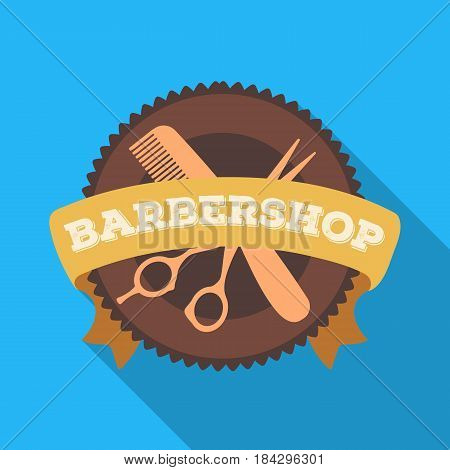 Barber's sign.Barbershop single icon in flat style vector symbol stock illustration .