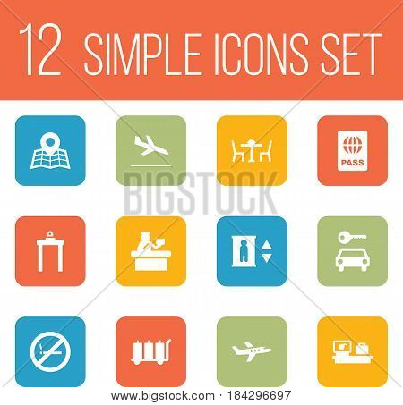 Set Of 12 Land Icons Set.Collection Of Forbidden, Letdown, Metal Detector And Other Elements.
