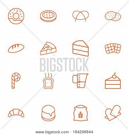 Set Of 16  Outline Icons Set.Collection Of Cake, Croissant, Flour And Other Elements.