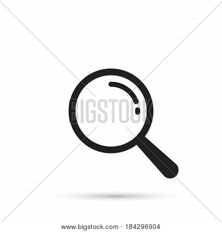Magnifier icon vector. Magnifying glass symbol isolated on white background.