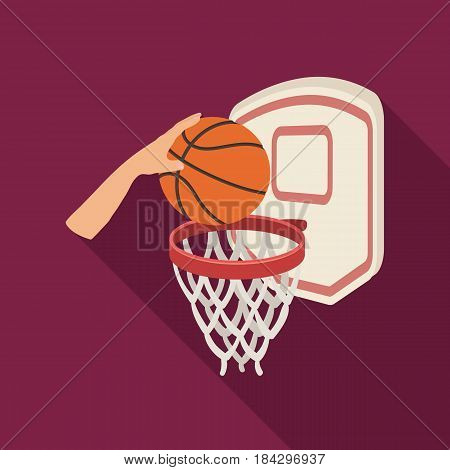 Hand with a ball near the basket.Basketball single icon in flat style vector symbol stock illustration .
