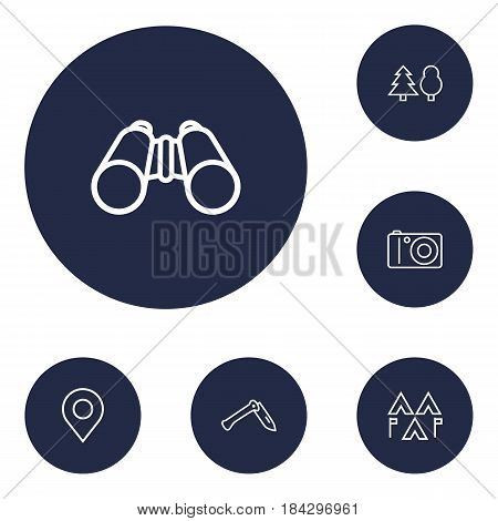Set Of 6 Outdoor Outline Icons Set.Collection Of Binoculars, Forest, Photographing And Other Elements.