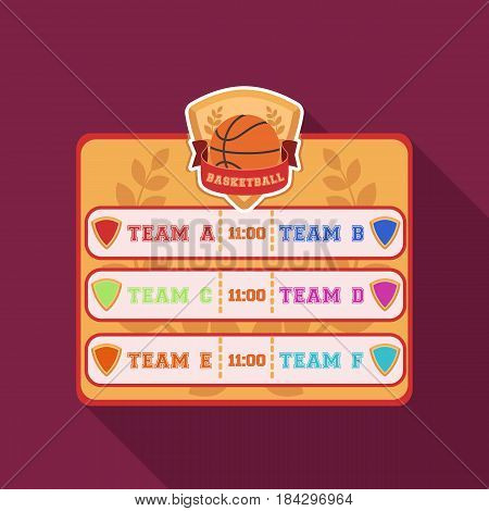 Placard on the basketball court.Basketball single icon in flat style vector symbol stock illustration .