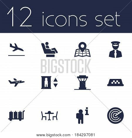 Set Of 12 Aircraft Icons Set.Collection Of Location, Restaurant, Data And Other Elements.