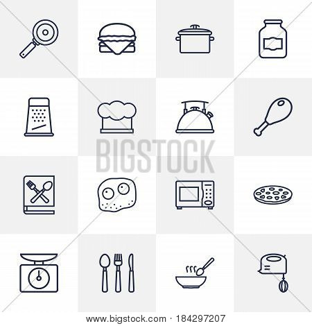 Set Of 16 Kitchen Outline Icons Set.Collection Of Omelette, Scales, Kettle And Other Elements.