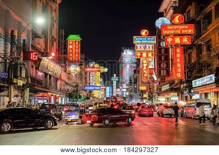 Bangkok-Thailand JAN 25 2017: Chinatown (Yaowarat Rd.) at night, Chinatown at night A tourist attraction and a Landmark for the world traveler. To come and taste to many foods.