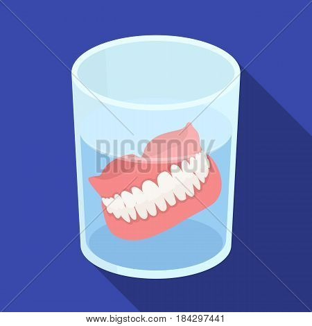 Dentures.Old age single icon in flat style vector symbol stock illustration .