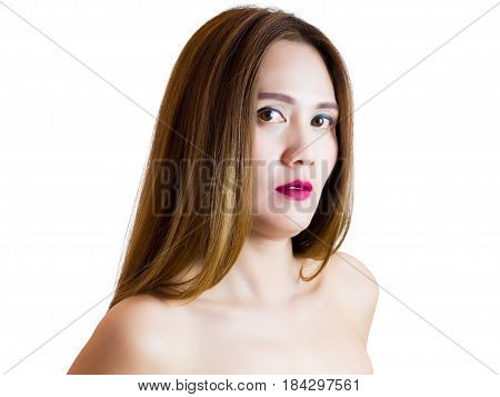 closeup the face Asian beautiful Women isolated on white background.