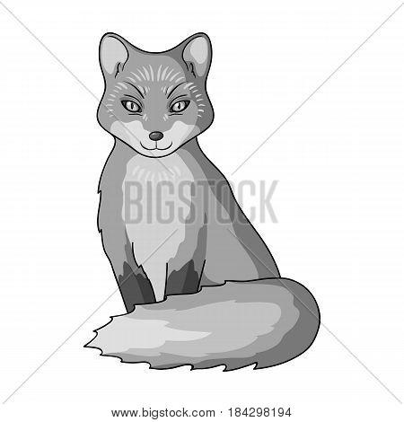 Red fox.Animals single icon in monochrome style vector symbol stock illustration .