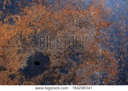 Metal surface damaged by rust stains Long corrosion