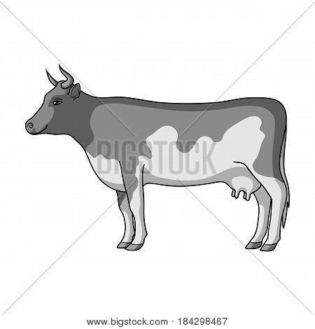 Cow.Animals single icon in monochrome style vector symbol stock illustration .