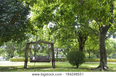 Bench Under The Tree In The Royal Botanic Gardens In Thailand