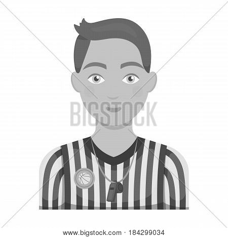 Basketball referee.Basketball single icon in monochrome style vector symbol stock illustration .