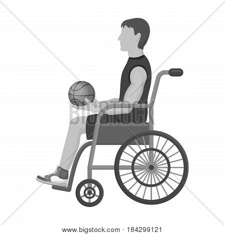 Basketball player disabled.Basketball single icon in monochrome style vector symbol stock illustration .
