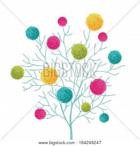 Vector Tree With Colorful Pom Poms Decorative Element. Great for nursery room, handmade cards, invitations, baby designs. Cute Birthday party decor.