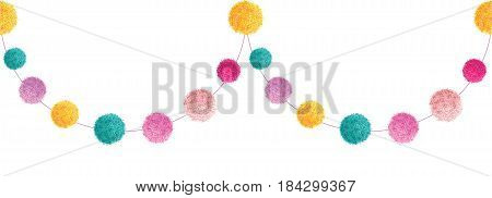Vector Colorful Happy Birthday Party Pom Poms Set On A String Horizontal Seamless Repeat Border Pattern. Great for handmade cards, invitations, wallpaper, packaging, nursery designs. Surface pattern design.
