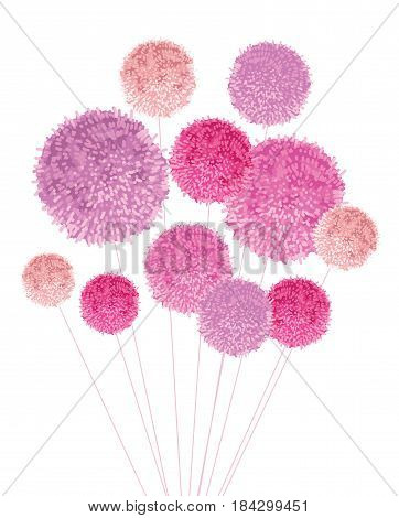 Vector Bouquet Of Pom Poms Baby Girl Pink Decorative Element. Great for nursery room, handmade cards, invitations, baby girl designs. Cute Birthday party decor.