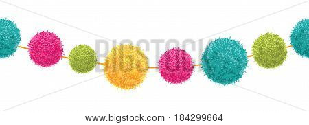Vector Vibrant Happy Birthday Party Pom Poms Set On A String Horizontal Seamless Repeat Border Pattern. Great for handmade cards, invitations, wallpaper, packaging, nursery designs. Surface pattern design.