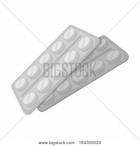 Tablets in the package.Old age single icon in monochrome style vector symbol stock illustration .