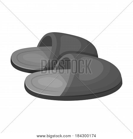 Slippers.Old age single icon in monochrome style vector symbol stock illustration .