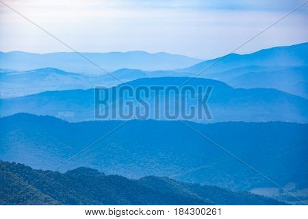 Layers Of Blue Hills Fading Into The Distance. Mountain Landscape In Australia