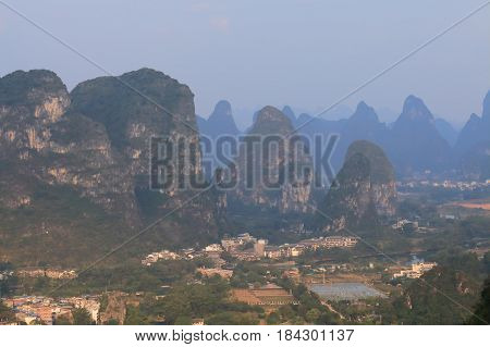 Beautiful karst mountain landscape in Yangshou China