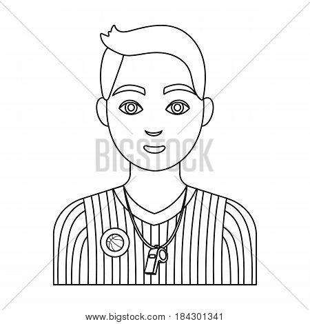 Young basketball player.Basketball single icon in outline style vector symbol stock illustration .