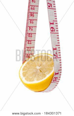 Lemon and tape measure isolated on white background