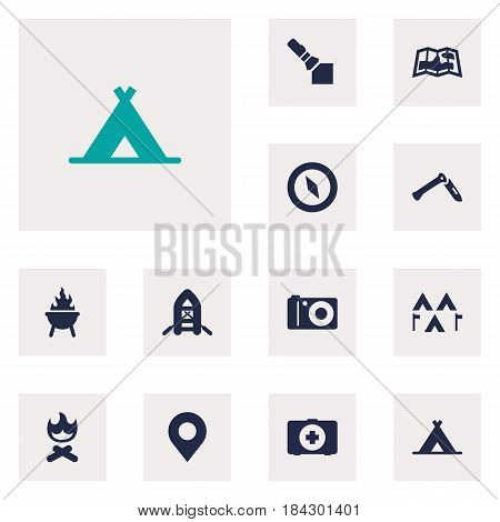 Set Of 12 Picnic Icons Set.Collection Of Jackknife, Flashlight, Bbq And Other Elements.