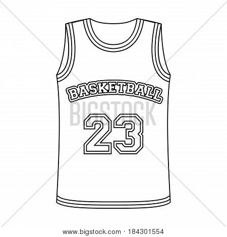 Basketball jersey.Basketball single icon in outline style vector symbol stock illustration .