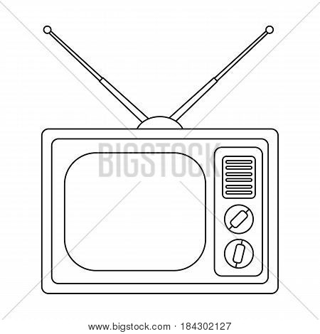 Old TV.Old age single icon in outline style vector symbol stock illustration .