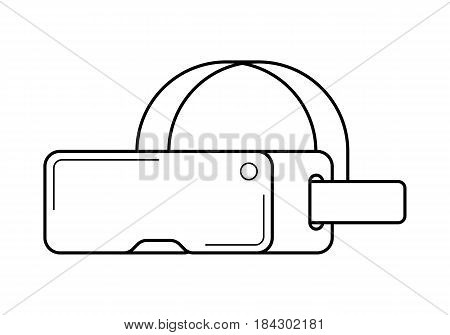 Virtual reality headset line art, simple gadget icon for web application, outline vector pictogram isolated on a white background, modern digital device for games, simulators and trainers
