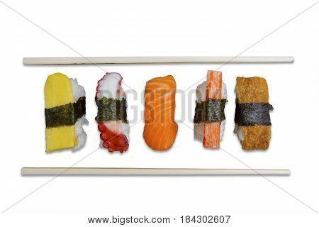 High angle view of nigiri sushi with chopsticks isolated on white background
