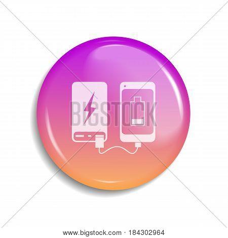 power bank. vector illustartion. icon glossy battery isolated usb
