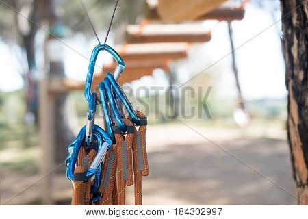 Group Of Blue Carabiner Safety Guarantee