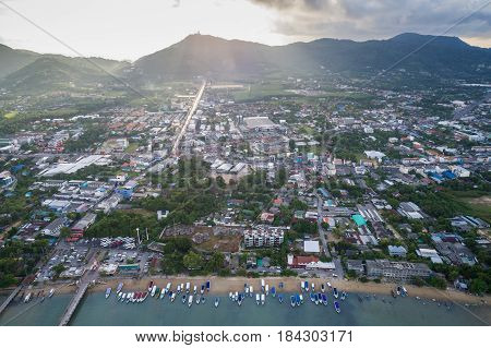 Phuket province at Chalong sub district aerial view from flying drone in Phuket