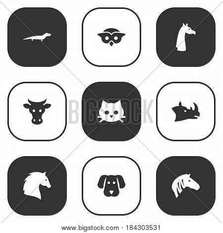 Set Of 9 Beast Icons Set.Collection Of Camelopard, Night Fowl, Steed And Other Elements.