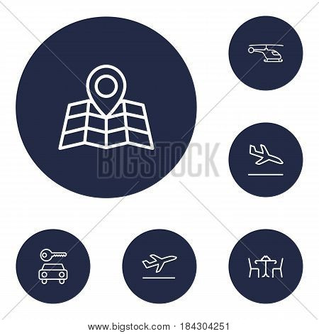 Set Of 6 Aircraft Outline Icons Set.Collection Of Flight, Map, Cafe And Other Elements.