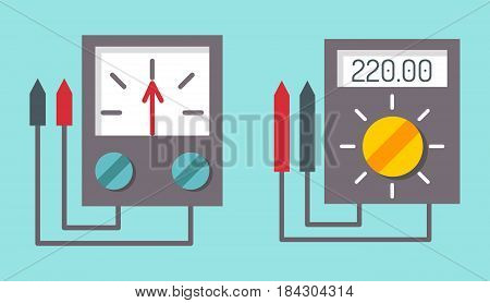 Multimeter electrical measurement technology equipment tool voltmeter electronic test vector illustration. Indication voltage ampere current display instrument.